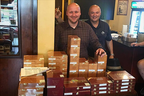 Jonathan Nelson and Pete at Cordova Cigars Oliva Event